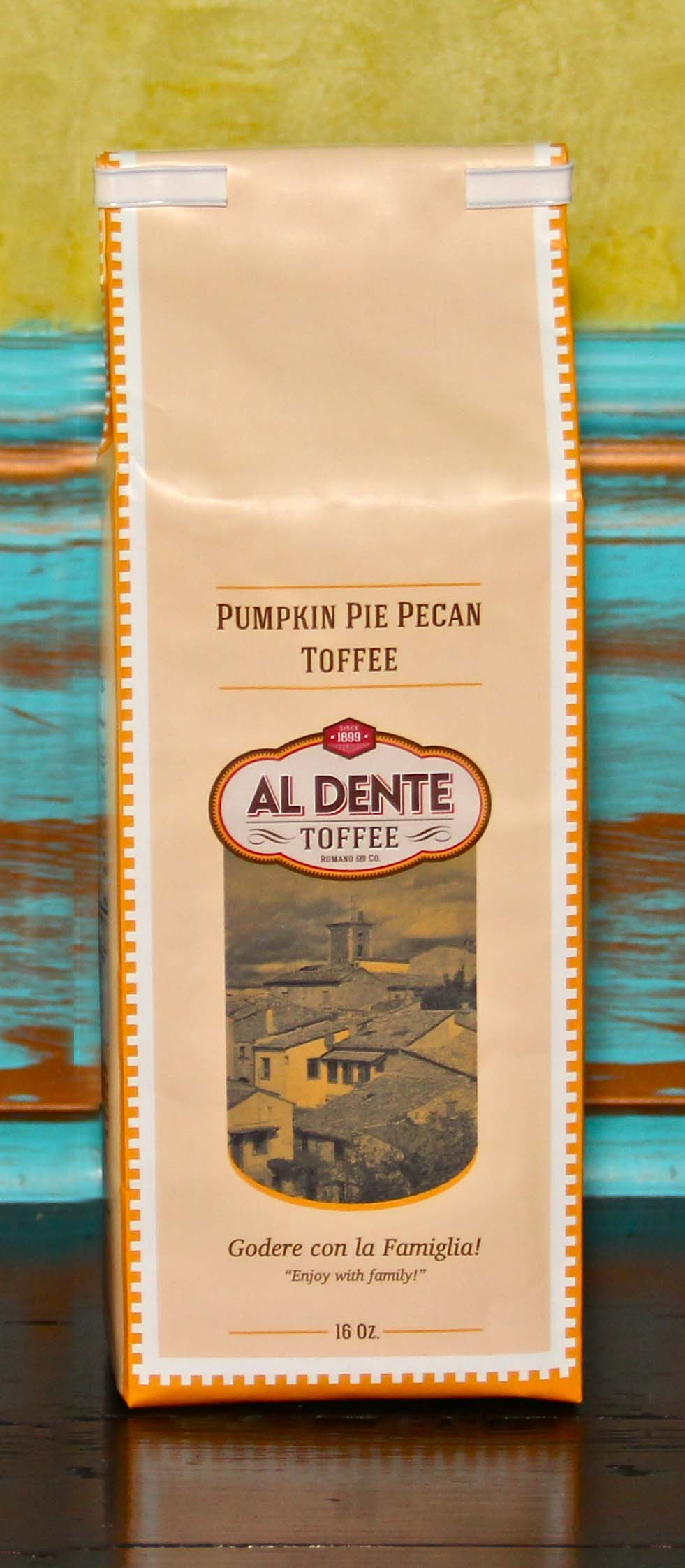 Click to enlarge Al Dente Toffee Pumpkin Pie Pecan Toffee 16 oz bag