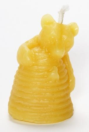 "Click to enlarge 100% Pure Beeswax ""Bear Skep"" Candle"