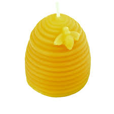 "Click to enlarge 100% Pure Beeswax ""Bee with Skep"" Candle"