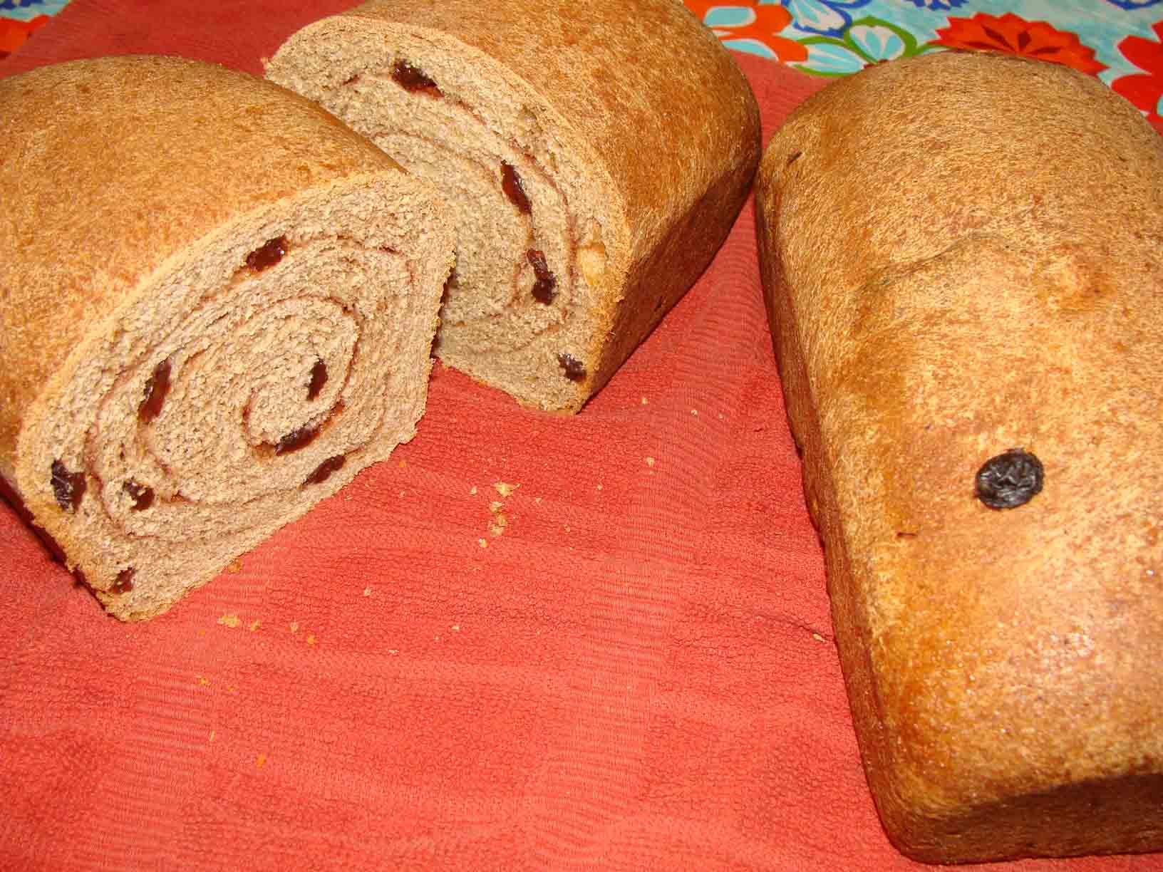 Click to enlarge 100% Whole Wheat Cinnamon Raisin Bread