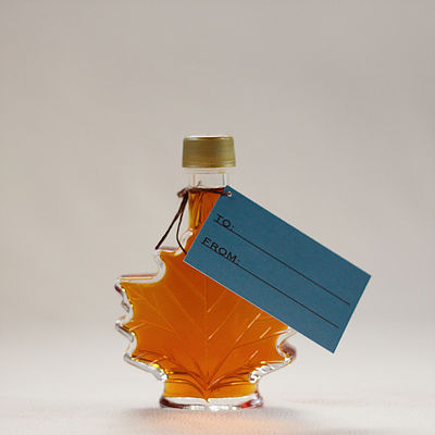 Click to enlarge 100% Pure Maple Syrup in 50ml Glass Maple Leaf