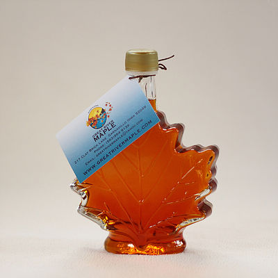 Click to enlarge 100% Pure Maple Syrup in 250ml Glass Maple Leaf