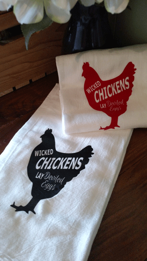 Click to enlarge Kitchen Tea Towel - Wicked Chickens