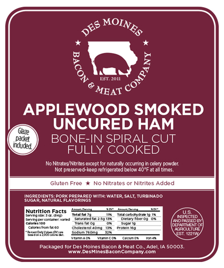 Click to enlarge ON SALE - Nitrate/Nitrite Free Applewood Smoked Holiday Spiral Ham