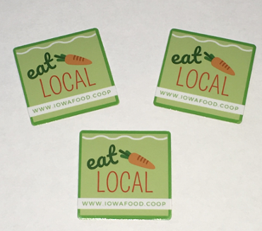 Click to enlarge Iowa Food Cooperative EAT LOCAL Stickers