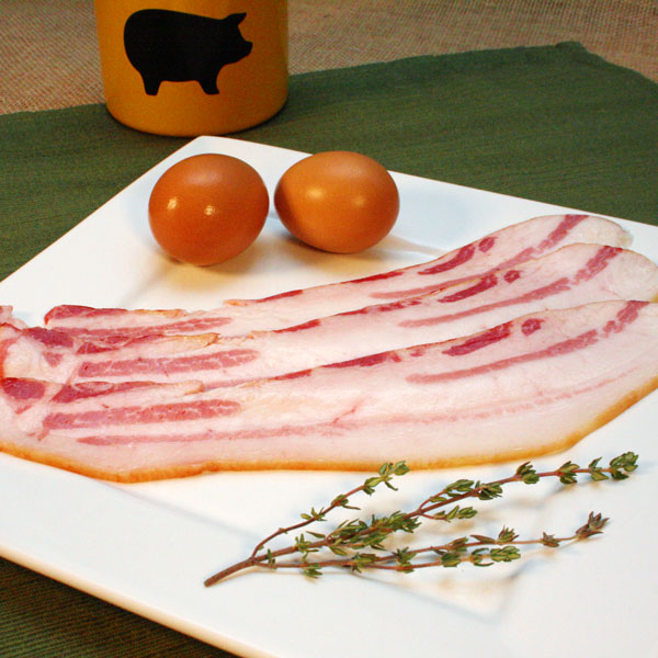 Click to enlarge  SALE - Mangalitsa Maple Sugar Cured Hickory Smoked Thin Cut Bacon