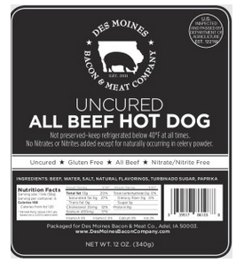 Click to enlarge All Beef Hot Dogs (Uncured)