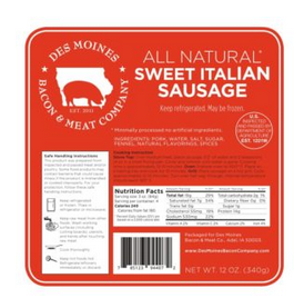 Click to enlarge All Natural Sweet Italian Sausage