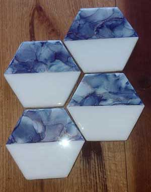 Click to enlarge Hexagon Tile Coasters - Denim Blue