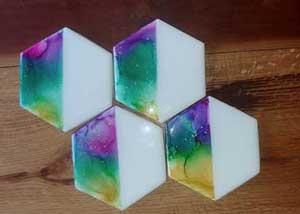Click to enlarge Hexagon Tile Coasters - Purple,Blue,Green,Yellow