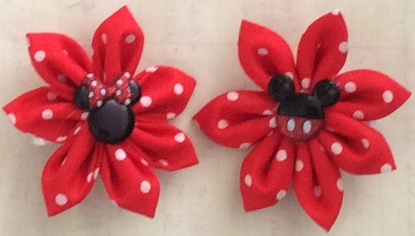 Click to enlarge Mickey & Minnie matching ponytail/ heir bows