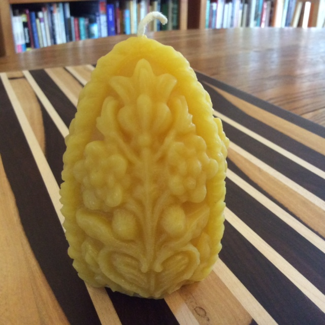 Click to enlarge Beeswax Carved Egg Candle