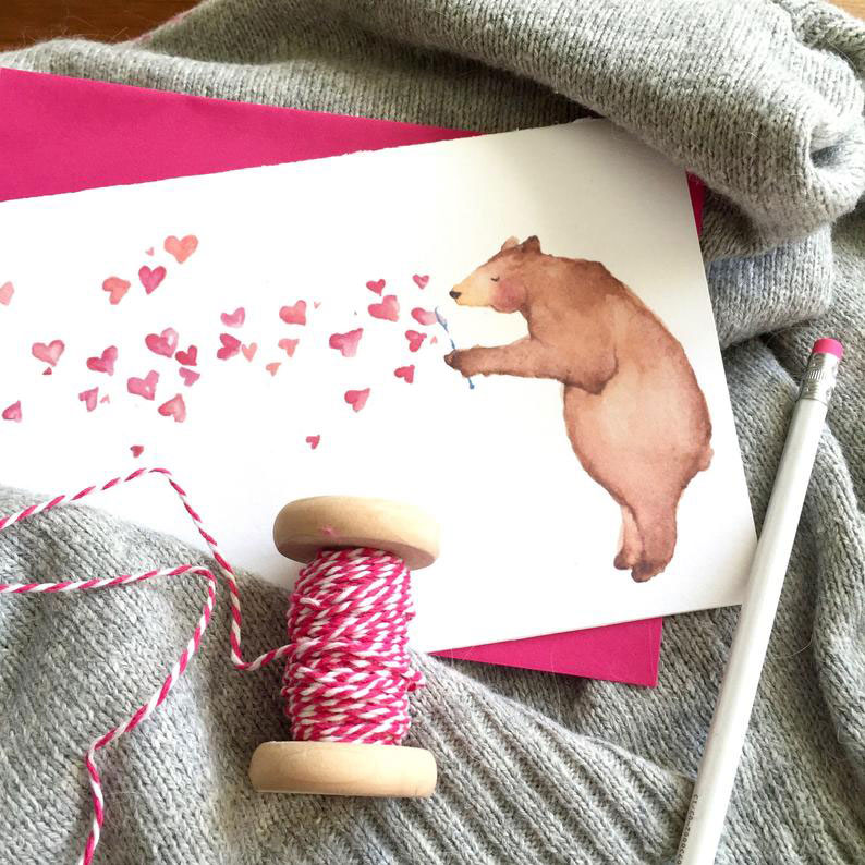 Click to enlarge Watercolor Bear Valentine Card