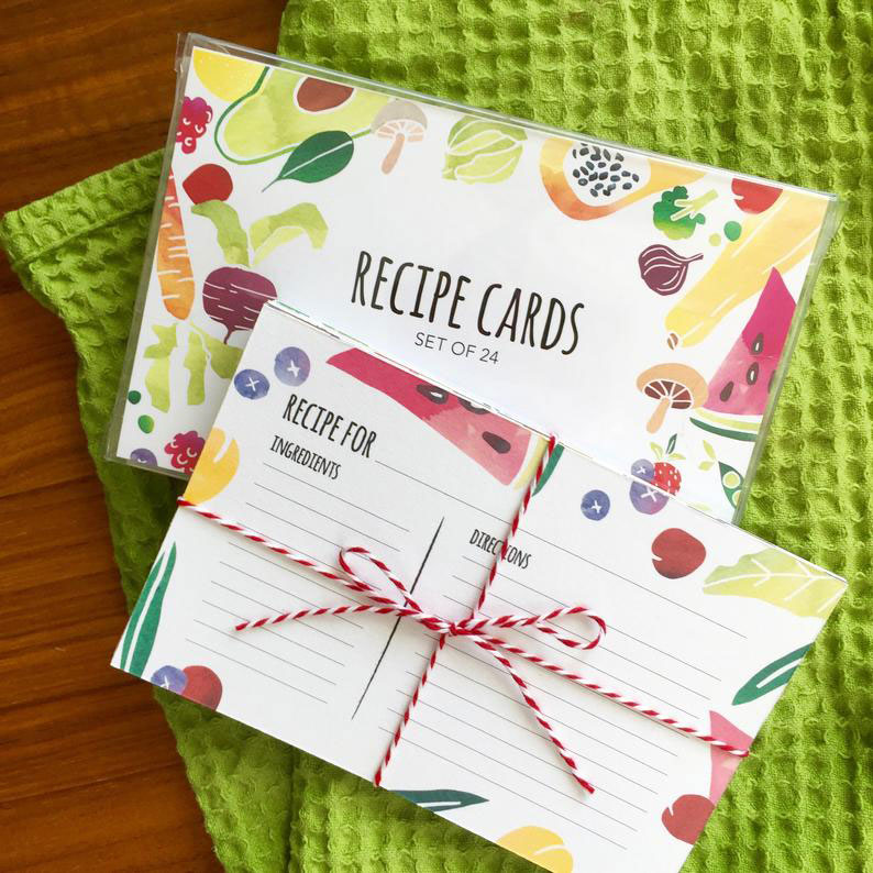 Click to enlarge Watercolor Recipe Card Pack