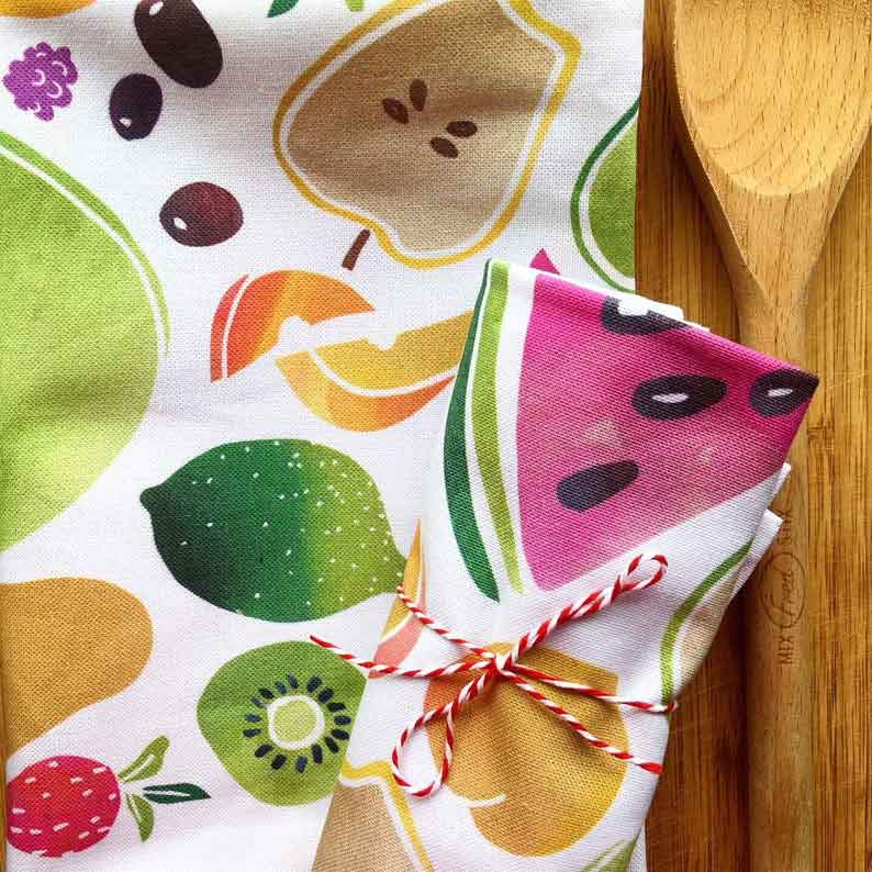 Click to enlarge Watercolor Fruits Tea Towel