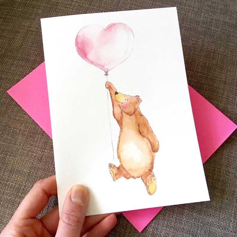 Click to enlarge Watercolor Bear with Balloon Card