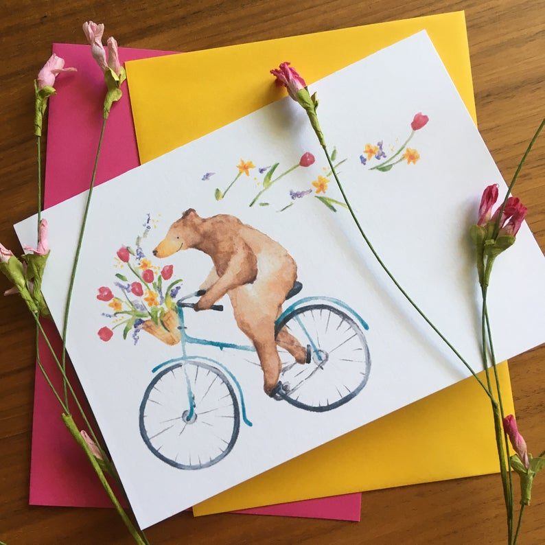 Click to enlarge Spring Bear Watercolor Card
