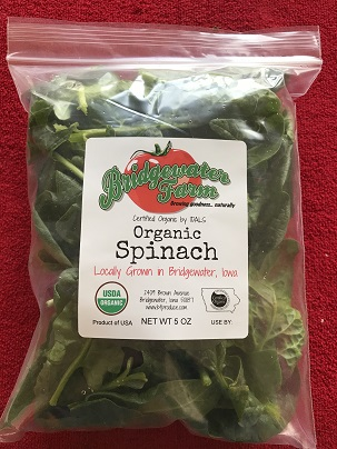 Click to enlarge USDA certified Organic Spinach, 5 oz.pkg