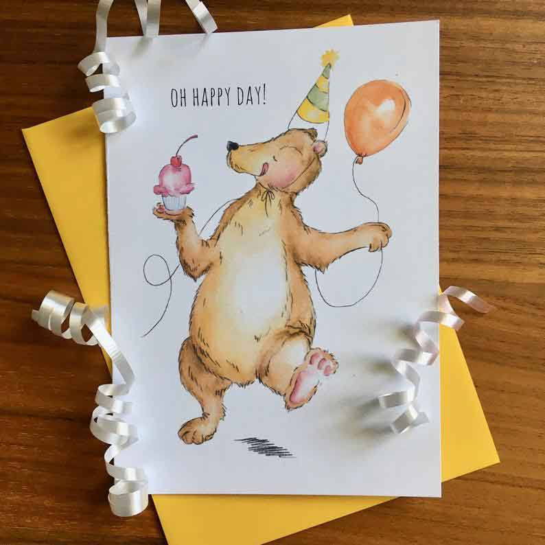 Click to enlarge Happy Birthday Bear Greeting Card