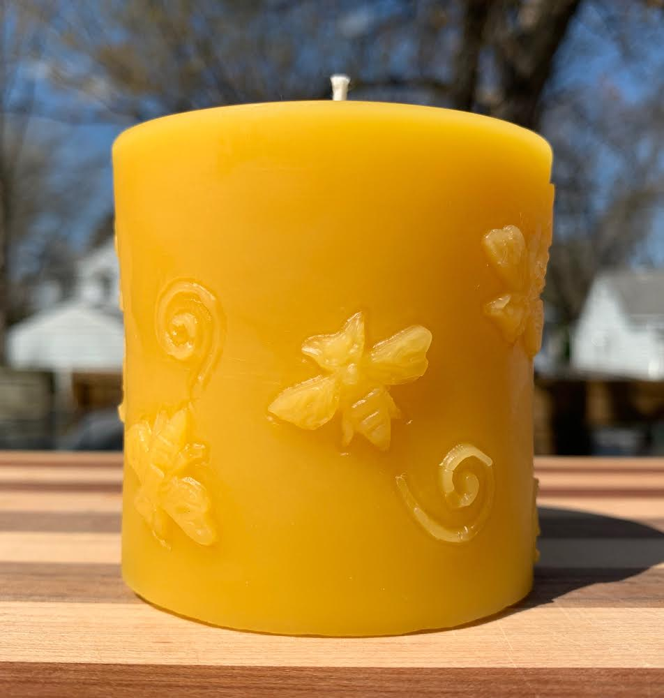 Click to enlarge Beeswax Candle Pillar w/Bees