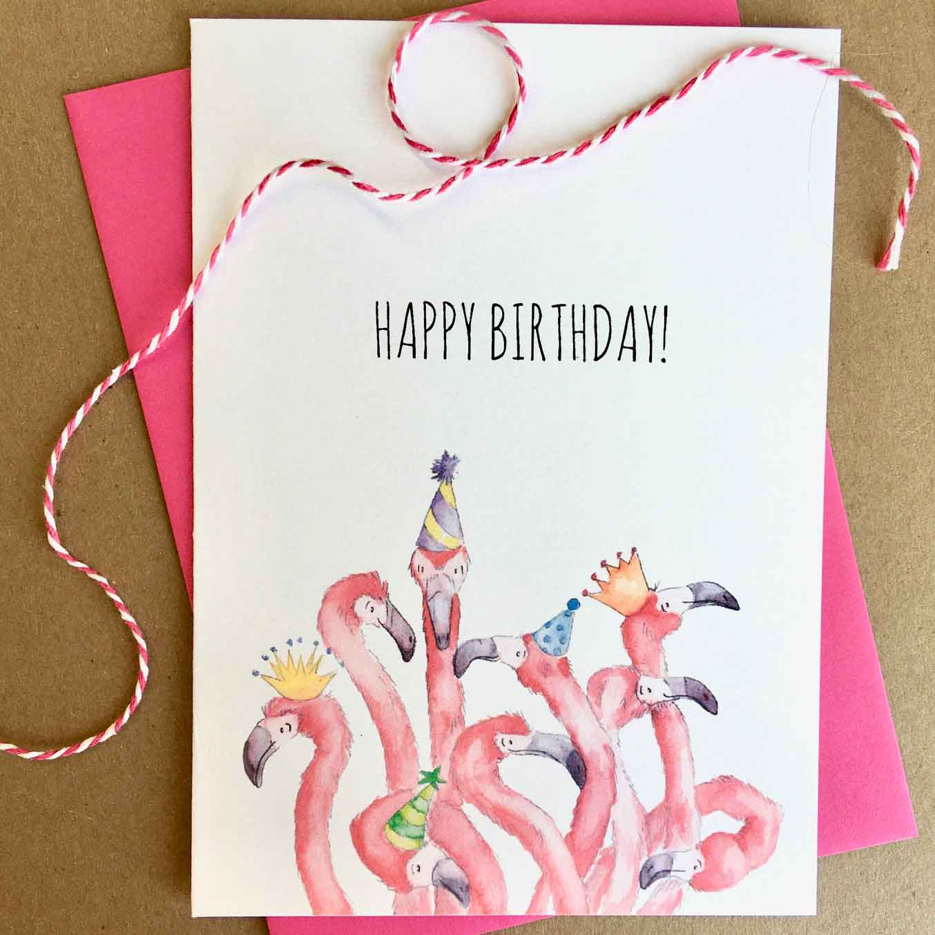 Click to enlarge Flamingo Birthday Card