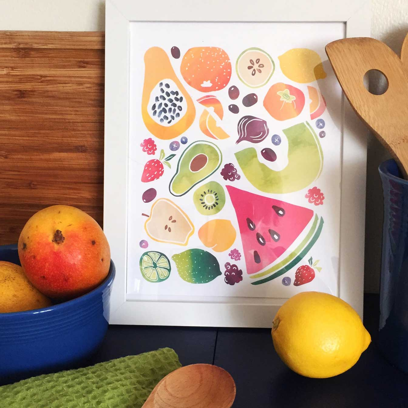 "Click to enlarge Watercolor Fruit 8x10"" Print"