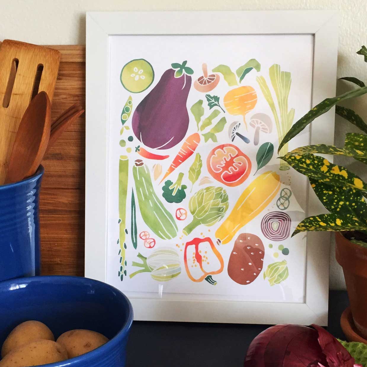 "Click to enlarge Watercolor Veggie 8x10"" Print"