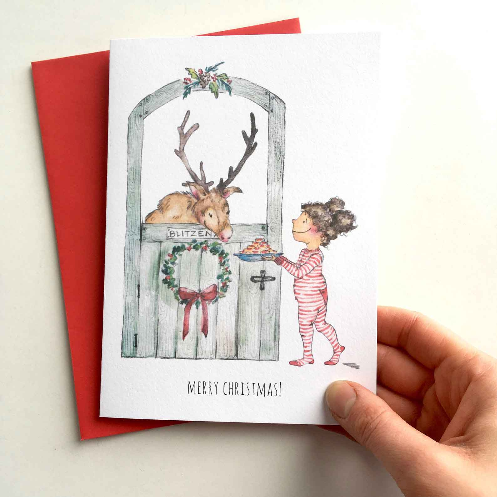 Click to enlarge Reindeer Watercolor Christmas Card