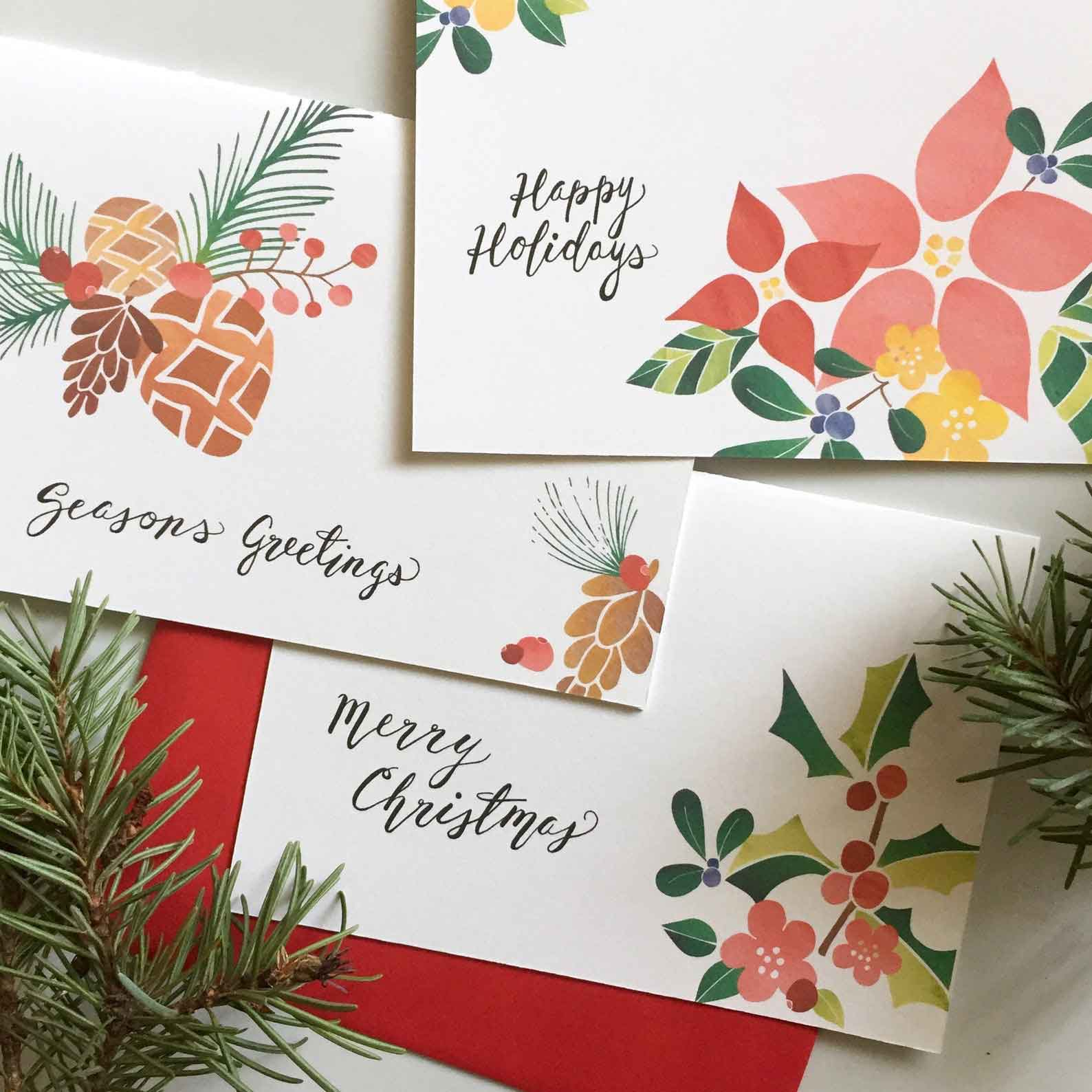 Click to enlarge Holiday Greetings Watercolor Cards