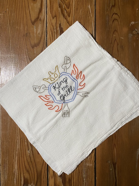 Click to enlarge Grill King Embroidered Tea Towel