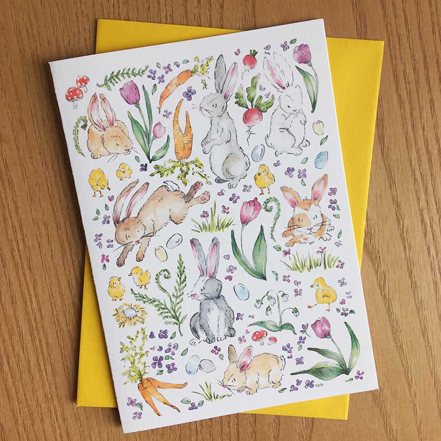 Click to enlarge Bunny & Chick Card
