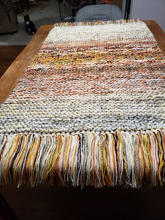 Click to enlarge NEW!! Unique (colors as pictured) hand-knit prayer shawl/blanket